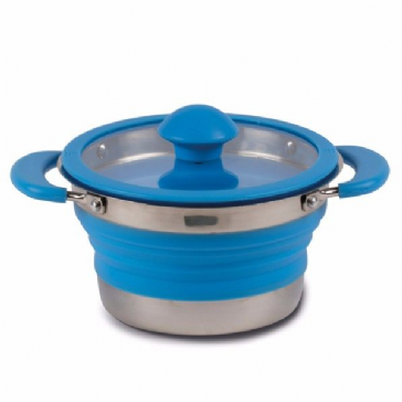 Kampa Folding Saucepan 1 L Blue Collapsible Camping Saucepan